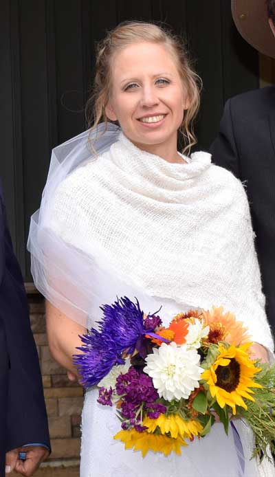 The bride wearing her shawl